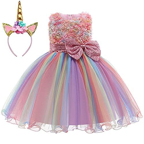 3D Flower Little Girl Princess Dress Rainbow Tutu Birthday Wedding Party Dress Toddler w/Headband