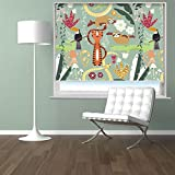 KIDS CARTOON JUNGLE ANIMALS PATTERN Printed Picture Blackout Photo Roller Blind - Custom Made Printed Window Blind