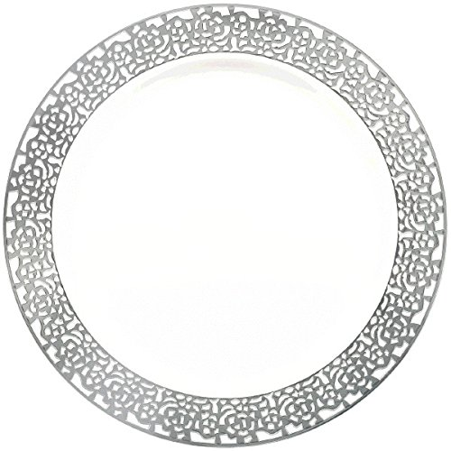 10 10 430265 Party Supply Silver Silver Amscan Premium Plastic Plates Party Supply 60 ct White 60 ct TradeMart Inc