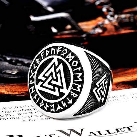 7 Un Style dor Hrain Anneau Viking Nordique en Acier Inoxydable 316L personnalis/é Perles de Rune Signet Loup scandinave Odin Symbole de la Mode Hommes Bijoux LR522
