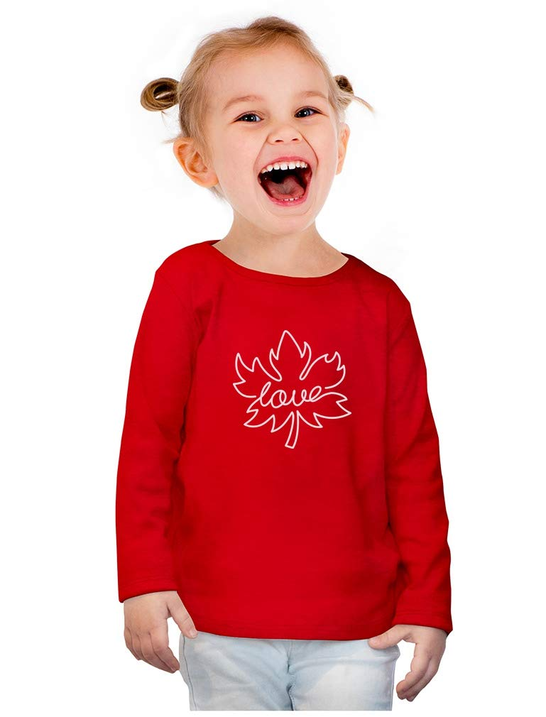 Canadian Maple Leaf Canada Day Cute Toddler Girls Fitted Long Sleeve T-Shirt