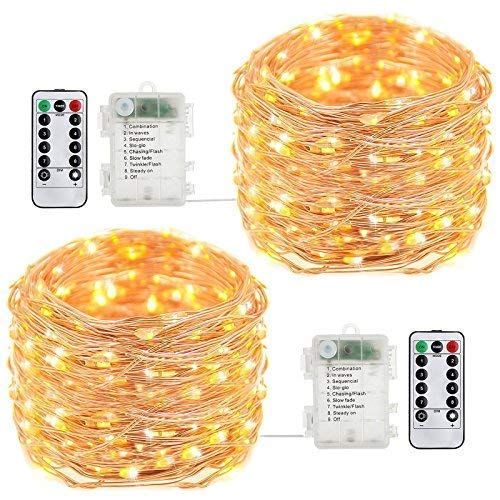 buways Fairy Lights, 2-Pack Battery Operated Waterproof 50 LED Fairy String Lights,16.4feet Light with Remote Control for Party Weeding Garden Home Decoration (Warm White) -