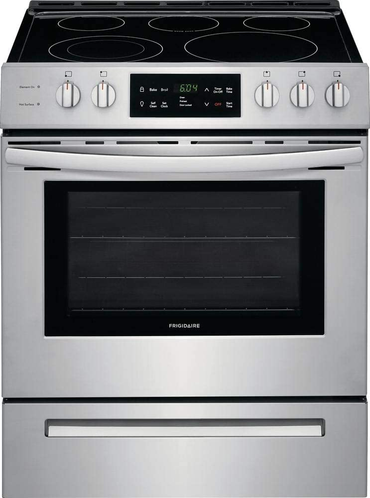 Frigidaire FFEH3054US 30 Inch Freestanding Electric Range with 5 Elements, Smoothtop Cooktop, 5 cu. ft. Primary Oven Capacity, in Stainless...