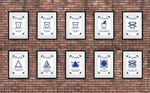 Laundry room decor signs set. 10 Laundry wall art posters.