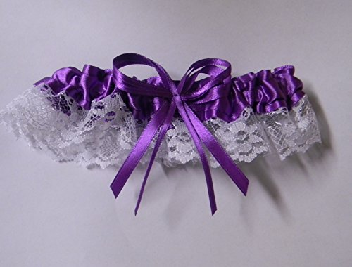 Wedding Ceremony Reception Party Satin Lace Sexy Bride's Garter Purple