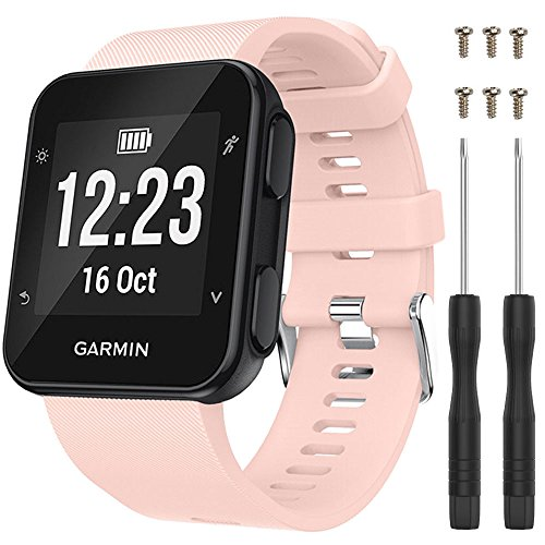 "QGHXO Band for Garmin Forerunner 35, Soft Silicone Replacement Watch Band Strap for Garmin Forerunner 35 Smart Watch, Fit 5.11""-9.05"" (130mm-230mm) Wrist (Pink)"