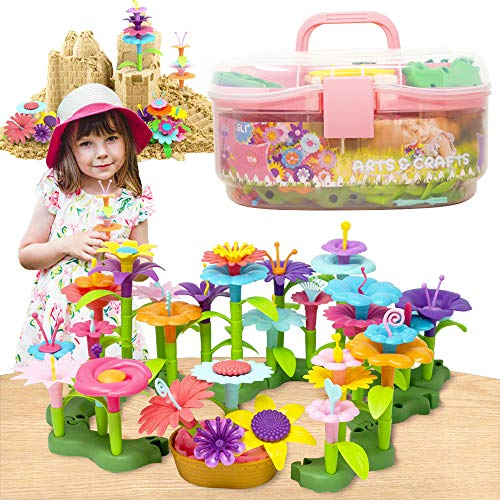 GILI Flower Toys, Girls Garden Toys for 4, 5, 6, 7 Year Old Gifts, Arts and Crafts for Kids Age 3-9, Indoor and Outdoor Toys for Creativity Play-- 120PCS Stacking Pieces