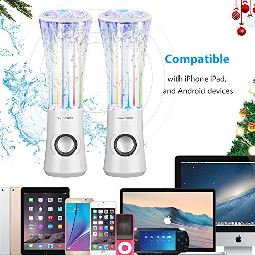 SoundSOUL Dancing Water Speakers LED Speakers Water Fountain Speakers Mini Music Amplifier(6 Colored LED Lights,Dual 3W Speakers,Perfect Birthday/Thanksgiving for Your Family) - White by SoundSOUL (Image #4)