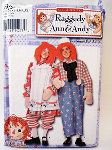 Simplicity 9370 - Adult Raggedy Ann & Andy Costume Pattern Couples Size: XS S M L XL -