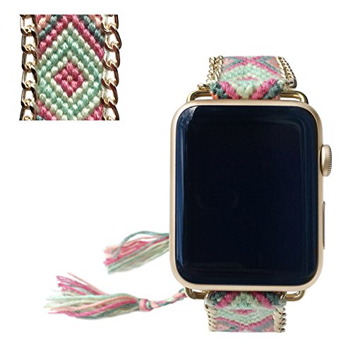 Apple Watch Band 42MM, Fashion Handmade Friendship Bracelet Replacement iWatch Strap Women Girls for Apple Watch Series 2 Series 1 All Version (Soft P…