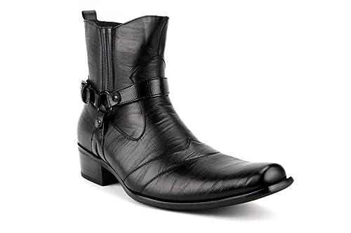 5c4fe51782e Delli Aldo Men's 698 Calf High Western Style Saddle Casual Dress Boot