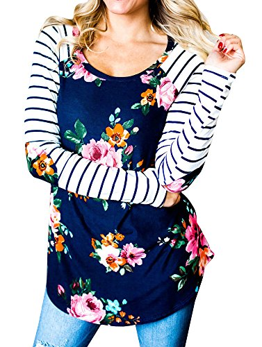 Print Striped T-shirt (Ferbia Shirts for Women Striped Shirt Raglan Casual Floral Print Blue Womens Tops with Elbow Patch)