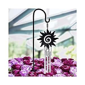 jestry negro con revestimiento de metal Bell Tubo Wind Chimes Juego Interior/exterior jardín macetas bonsai decor-01