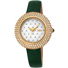 Burgi Women's BUR207GN Swarovski Crystal Encrusted Quilted Dial Yellow Gold & Emerald Green Satin Leather Strap Watch