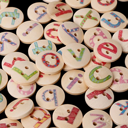 Alphabet Buttons (HittecH 100Pcs Alphabet Letters Mixed Wooden Sewing Buttons 2 Holes 15mm Scrapbooking Clothes DIY Craft)