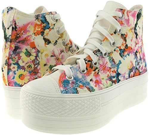 Top Printed High Sneakers Flower Canvas Platform RoseBlue Maxstar Shoes aHnzxBx