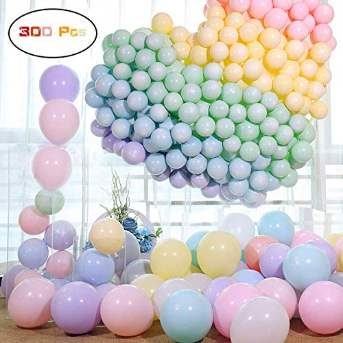 300pcs Feiven Balloon Latex Macaron Balloons Wedding Room Decoration Layout Party Rainbow Color Balloons For Kids Birthday Party Baby Shower Toys Christmas Supplies (200pcs 5 inches+100 pcs 10 inches)
