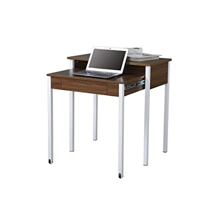 Techni Mobili Retractable Computer Desk With Storage, Walnut
