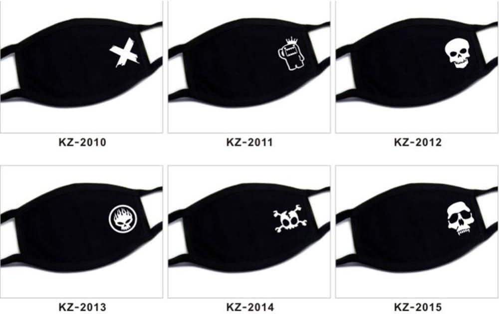 DragonPad Máscara de algodón, protección contra el Polvo y Transpirable, protección contra los Rayos UV, mascarilla bucal para niños Adolescentes Adultos de Color Negro Negro patrón Aleatorio