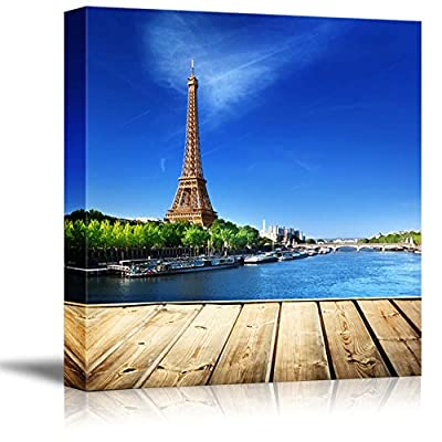 Canvas Prints Wall Art - Beautiful Scenery Wooden Deck Table and Eiffel Tower in Paris | Modern Home Deoration/Wall Art Giclee Printing Wrapped Canvas Art Ready to Hang - 24