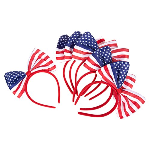 Set of 6 American Flag Bow Headband - Soft and Stretchy Plastic Head Bands with Bows (Red V1 Flag)
