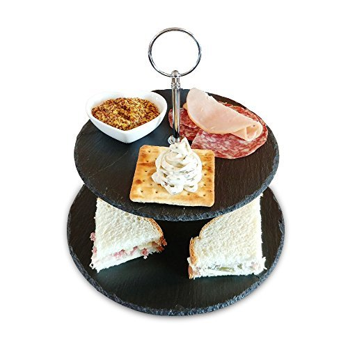Slate Cake Stand - 2 Tier - Cupcake Dessert Stand - Elegant Tea Party Slate Serving Platter for Weddings, Parties with Premium Gift Packaging. Cheese Tower also holds Cookies, Tapas, ()