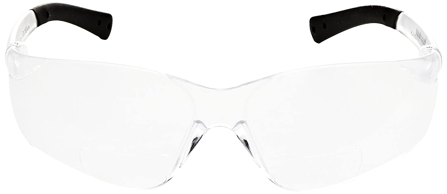 Crews BKH20 BearKat Magnifier Polycarbonate 2 0 Diopter Clear Lens Safety  Glasses with Non-Slip Hybrid Black Temple Sleeve, 1 Pair