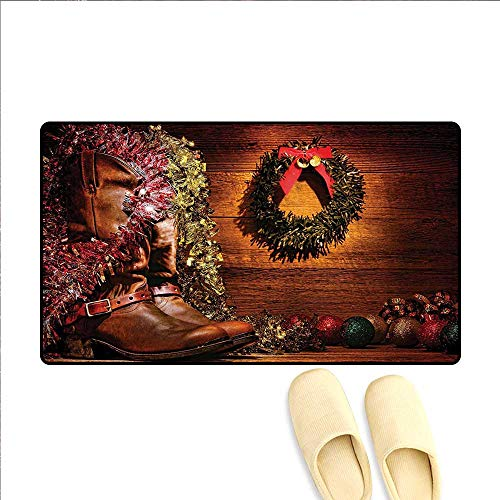 Western Decor Door Mats for Inside Country Design with Cowboy Boots and Christmas Decorations in Vintage Cabin Lodge Bathroom Mat Non Slip 16