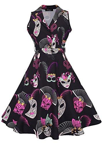 con cinturón en desmontable Máscara vintage Womens de vestido V negro mangas 50s té con rockabilly sin cuello TxWqgwH