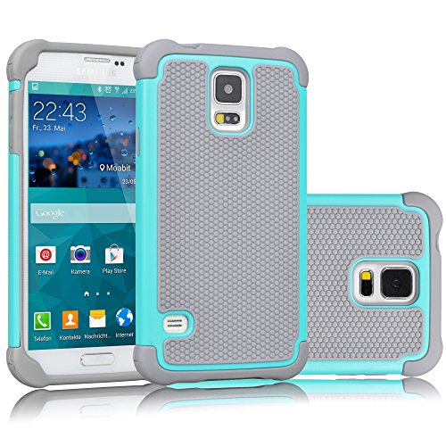 Cheap Cases Galaxy S5 Case, Tekcoo(TM) [Tmajor Series] [Turquoise/Grey] Shock Absorbing Hybrid Rubber Plastic..