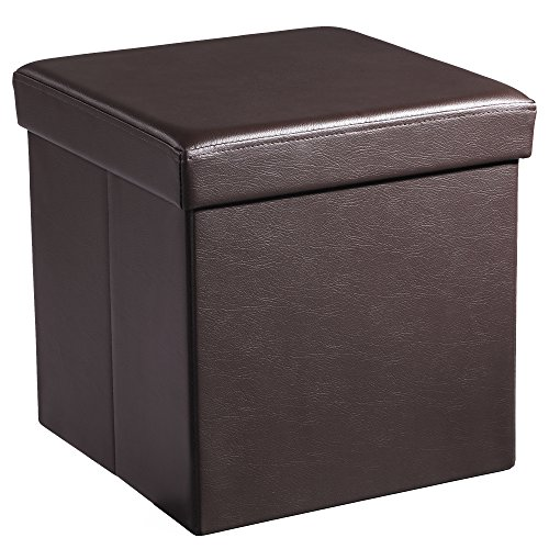 SONGMICS 15 x 15 x 15 Inches Folding Storage Ottoman Cube Footrest Stool Coffee Table Puppy Step, Holds Up to 660lb, Faux Leather, Brown ULSF10B (Brown Leather Faux Footstool)