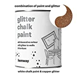 Hemway White Chalk Paint (with Copper Glitter) Sparkle Matt finish Wall and Furniture Paint 1L / 35oz Shabby Chic Vintage Chalky Crystal (25 Glittery Colours Available)