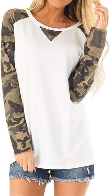 Heetey Tshirts - Camisa de Camuflaje para Mujer (Larga, Cuello Alto y bajo): Amazon.es: Ropa y accesorios