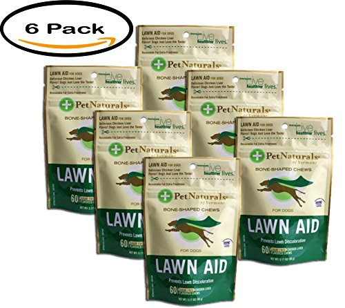 PACK OF 6 - Pet Naturals 87946 Lawn Aid Dog Chews, 60 CT