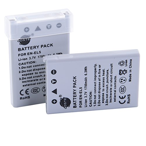 DSTE 2x EN-EL5 Replacement Li-ion Battery for Nikon Coolpix P530 P5000 P5100 7900 P6000 3700 4200 5200 5900 P80 P90 P100 P500 P510 P520 P3 P4 S10 Camera