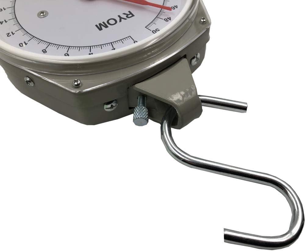 50kg m/áx B/áscula para colgar con 2 ganchos en forma de S y con caja resistente de metal Balanza anal/ógica PROFI 200g