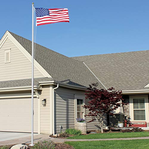 Eder Flag - SS25 25-Foot Aluminum Sectional Special Budget Series Flagpole - Easy to Install - All Accessories Included - 4 Sections (4x6 Foot Poly-Max American Flag, Clear)