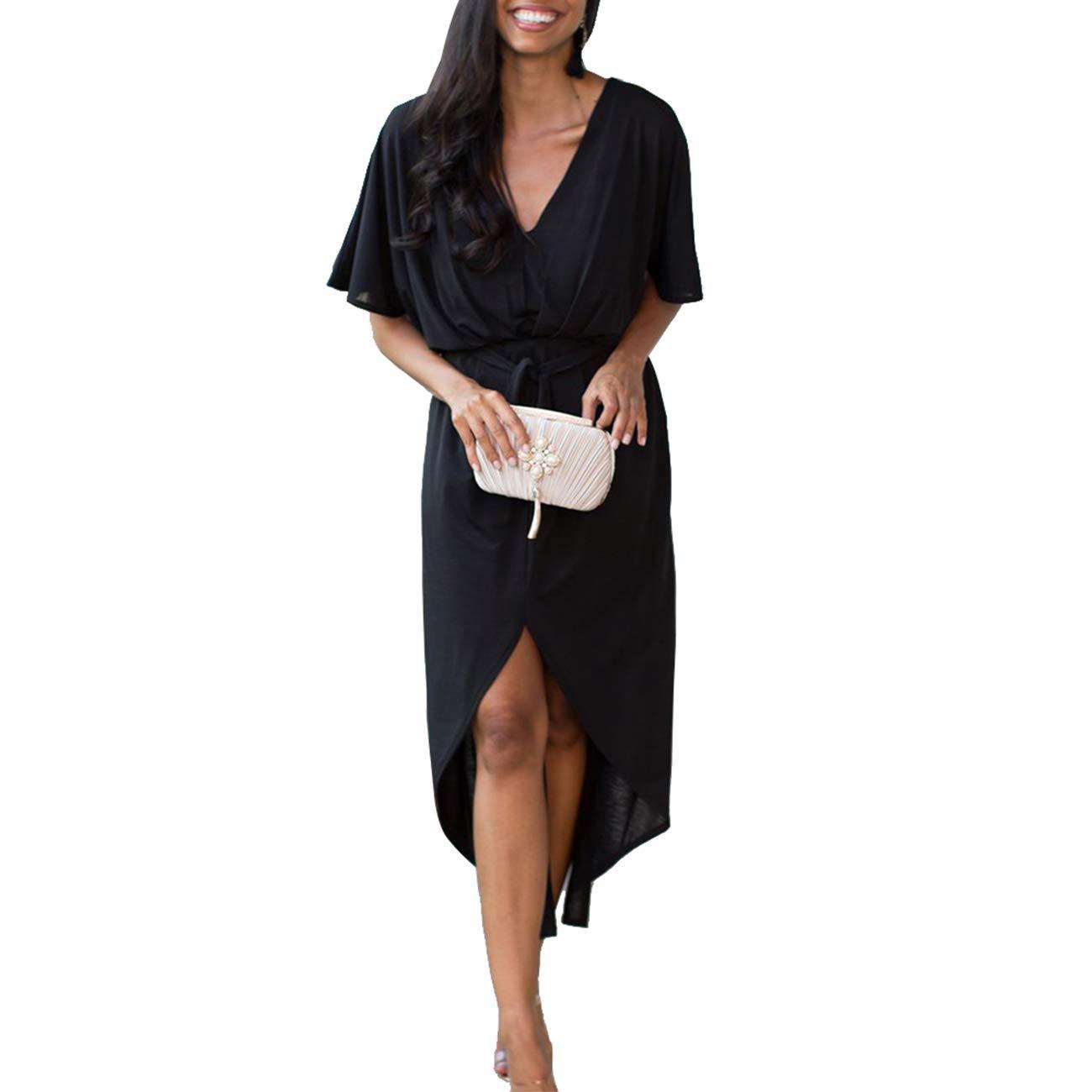 Black Devon Aoki Women Casual Sexy Maxi Dress Spring Summer 2019 Style V Neck Ladies Dresses Womens Clothing AnkleLength Split Hem Dress Black