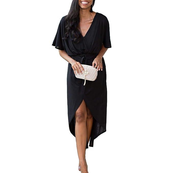 e42edd0d2d93 Women Casual Sexy Dress Spring Summer 2019 Style V Neck Ladies Dresses  Womens Clothing Ankle-Length Split Hem Dress at Amazon Women's Clothing  store: