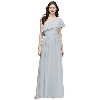 fac54f2b9b16 David's Bridal Chiffon Bridesmaid Dress with One-Shoulder Flounce Style  EJ8M8683 at Amazon Women's Clothing store: