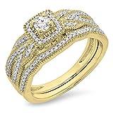 0.45 Carat (ctw) 10K Yellow Gold Round Diamond Ladies Bridal Halo Engagement Ring Set 1/2 CT (Size 10)