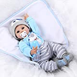 iCradle Handmade Realistic Looking Baby Boy Soft Silicone Reborn Doll Real Lifelike Newborn Dolls Toddler 22 Inch 55cm Magnet Pacifier