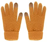 Glove us Winter Touch Screen Warm Knitted Gloves Thick Wool Windproof Cold Proof Thermal Mittens for Womens Girl (Khaki.)