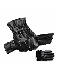 GOOTRADES Men PU Leather Motorcycle Driving Full Finger Touch Screen Warm Gloves
