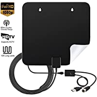 60Miles Amplified TV Antenna Indoor - Hottly Upgraded Version Digital HDTV Antenna with Detachable Amplifier Signal Booster, 1080P VHF UHF High Reception Long Range with 10Ft Coaxial Cable
