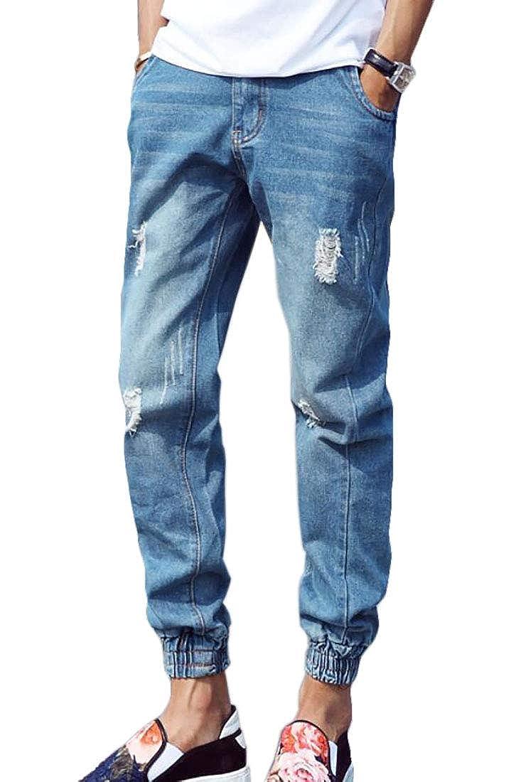 Yaolor Men Vintage Ripped Destroyed Drop Crotch Denim Jogger Pants