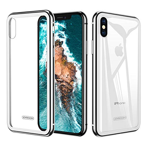 iPhone X / Xs Case White, 9H Tempered Glass for iPhone Xs iPhone X Case, Transparent Glass Back With Metal Bumper Case Ultra Slim Fit, (Offering Fantastic Grip) Joyroom 5.8 inch Cover ()