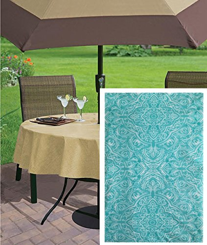 Kasey Shabby Chic Medallion Check Print Vinyl Flannel Backed Tablecloth, Indoor/Outdoor Tablecloth for Picnics, Barbeque, Patio and Kitchen Dining, 70 Inch Zippered Umbrella Hole Round, (Umbrella Plastic Cover)
