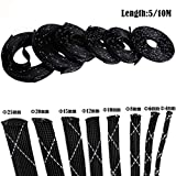 4-25mm 10M High Density Cable Sleeve PET Braided Expandable Sleeve Wire Sheathing Wire Wrapper Black White