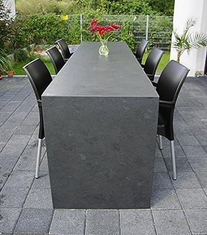 Grandes Piedra natural Mesa de negro Pizarra con el natural Superficie Estructura de la Piedra natural. 240 x 70 cm. Otras Dimensiones posible: Amazon.es: Hogar